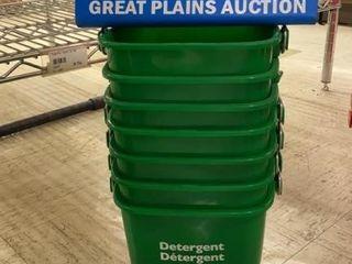 7 San Jamar 3 qt Green Detergent Buckets