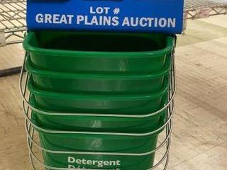 5 San Jamar 6 qt Green Detergent Buckets