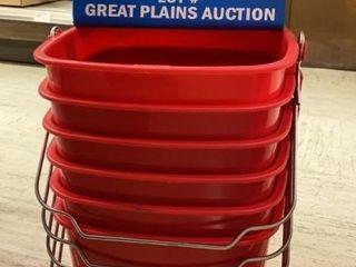 6 San Jamar 8 qt Red Sanitizer Buckets