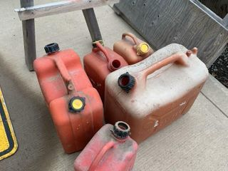 2 lARGE   3 MEDIUM SIZE GAS CANS