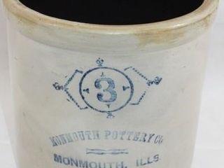 MONMOUTH POTTERY CO  3 GAllON CROCK