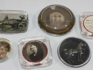 6 VINTAGE GlASS PAPER WEIGHTS