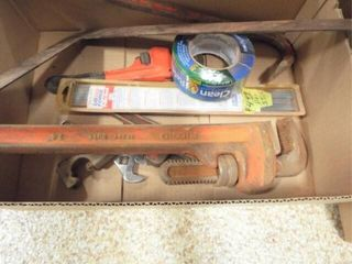 Pipe wrenches  pry bars  nickel welding rod