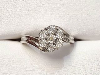 Silver Diamond Flower Shaped Ring  Size 7