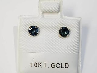 10K Yellow Gold Sapphire  0 65ct  Earrings  Made