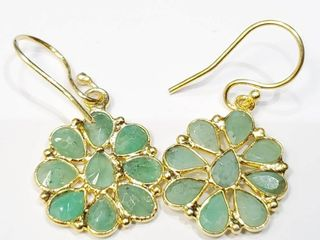 Silver Emerald Gold Plated Earrings  BZ082M 64