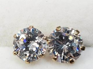 10K Yellow Gold Cz 6Mm Earrings  BZ082M 71