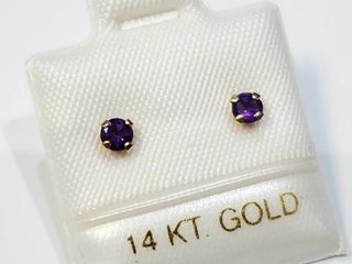 14K Yellow Gold Genuine Amethyst Earrings  Made