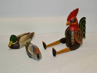 2  Carved Wooden Ducks and Rooster