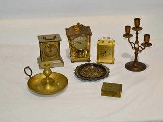 Box Brass Clocks  Candle Holders  Etc