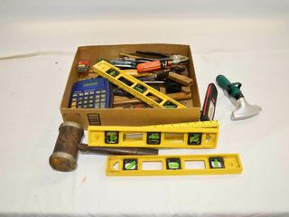 Tray of Assorted Tools  levels  etc