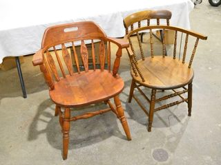 2  Wooden Tub Chairs