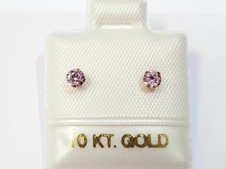 10K Yellow Gold Pink Cz Earrings  Made in Canada