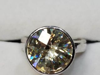 Silver Yellow Cz Ring  BZ082M 83   D2