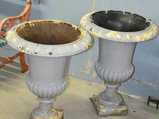 Pair of Cast Planter Urns  24  tall
