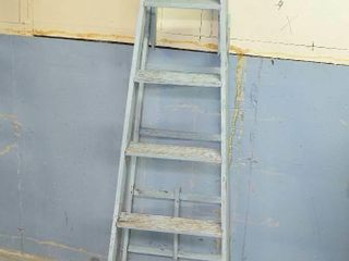 Painted Wooden Step ladder for Garden Decor