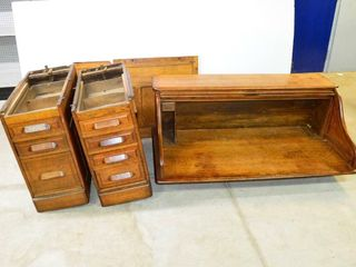 Vintage Roll Top Desk  60  x 34  x 48 h