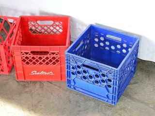 3  Plastic Milk Crates