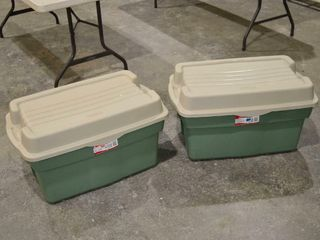 2 large Rubbermaid Storage Totes with Hinged