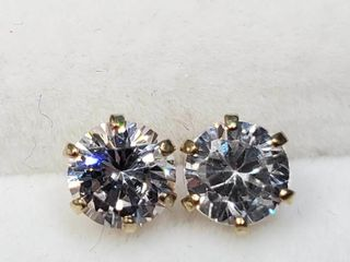 10K Yellow Gold Cz 5Mm Earrings  BZ082M 90
