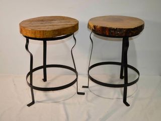 Pair of Rustic Stools  22 h