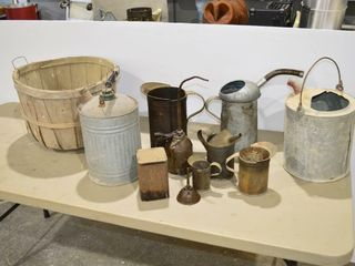 Grp  of Oil Cans and Bushel Basket