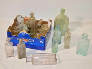 Box of Small Interesting Old Glass Bottles