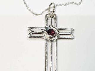 Silver Cz Cross 18  Necklace  BZ082M 97   D2