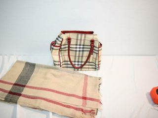 Burberry Style Handbag   Plaid Scarf