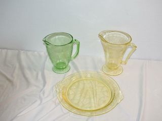 Depression Glass Cake Plate   Two Pitchers