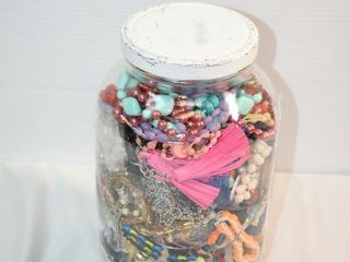 large Jar  w Jewelry for Crafts