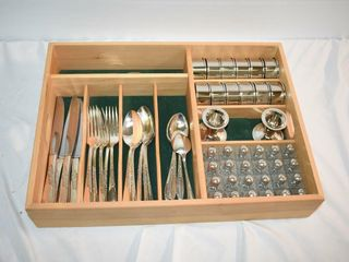 Tray  w Flatware Napkin Rings Salt   Pepper