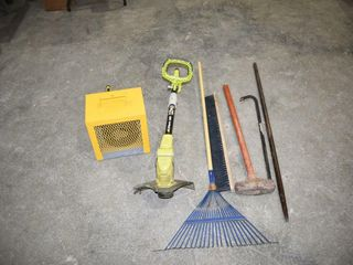 Assorted Tools  Heater  Weed Trimmer