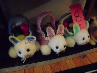3 bunny baskets w  Easter eggs   stuffed animal