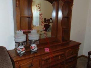 Wood dresser w  mirror  approx 66 w x 18 d x 32 h