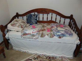 Wood day bed frame w  mattress  quilt   pillow
