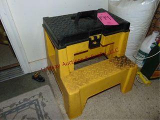 plastic step stool w  built in tool box