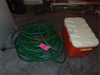 3 garden hoses   1 cooler