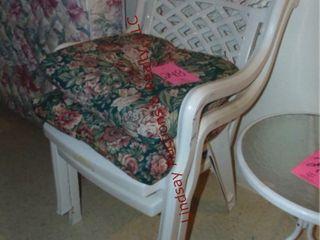 2 white patio chairs w  cushions
