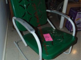Green metal rocking chair