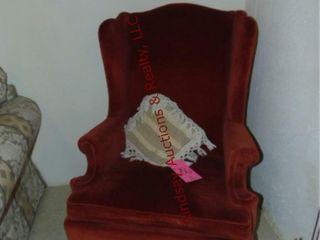 Cloth chair w  wood legs
