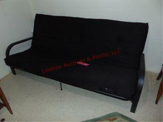Black cloth futon w  metal frame approx 77  long