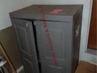 Plastic 2 door storage cabinet w  contents