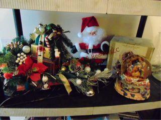 Group of Christmas items  Santa  sleigh