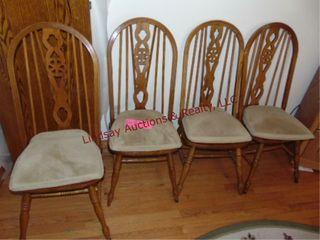 4 wood chairs w  cushions