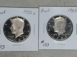 1982 S   1983 S Kennedy Half Dollars Proof