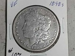 1898 S Morgan Dollar VF details old cleaning
