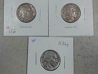 1936  1936 D   1936 S Buffalo Nickels VF