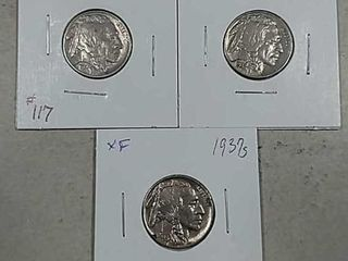 1937  1937 D   1937 S Buffalo Nickels XF