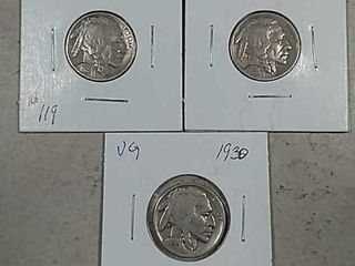 1920  1925   1930 Buffalo Nickels VG